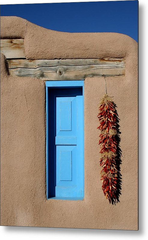 Taos Metal Print featuring the photograph Blue Window Of Taos by Heidi Hermes