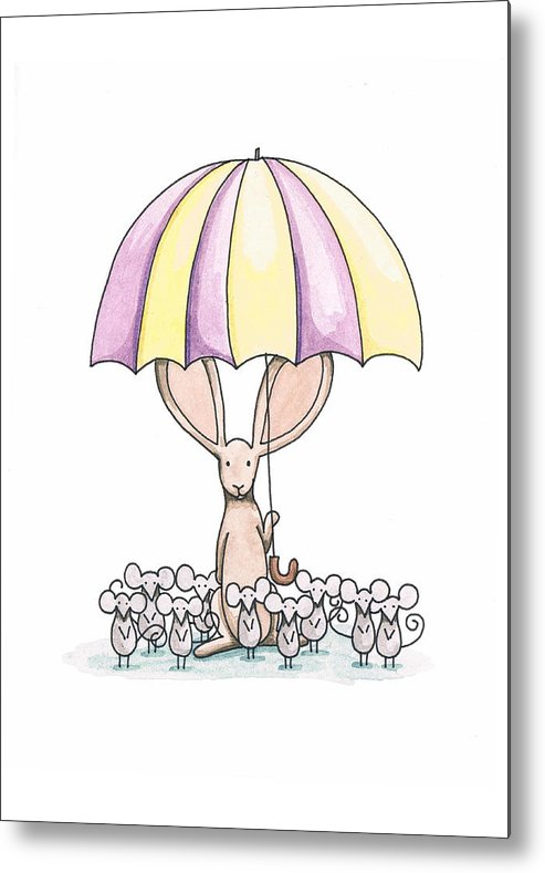 Bunny Metal Print featuring the painting Bunny With Umbrella by Christy Beckwith