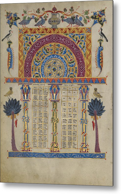Canon Metal Print featuring the painting Canon Table Page Toros Roslin, Armenian by Litz Collection