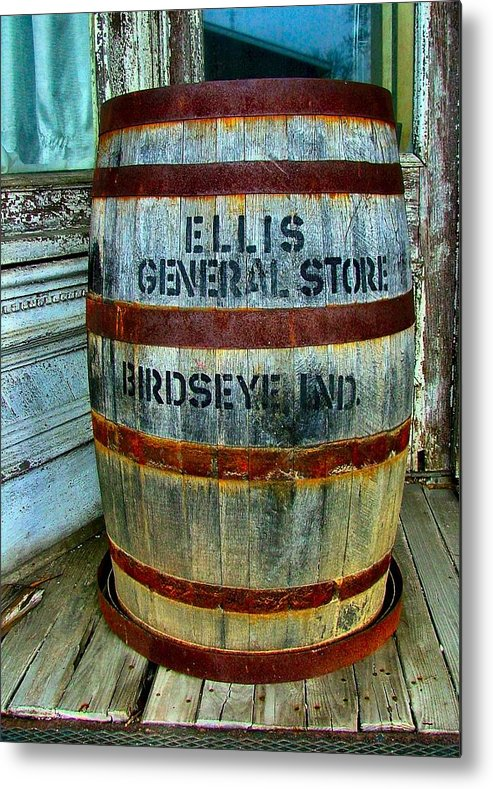 Old Barrels Metal Print featuring the photograph Cheap Advertisement by Julie Dant