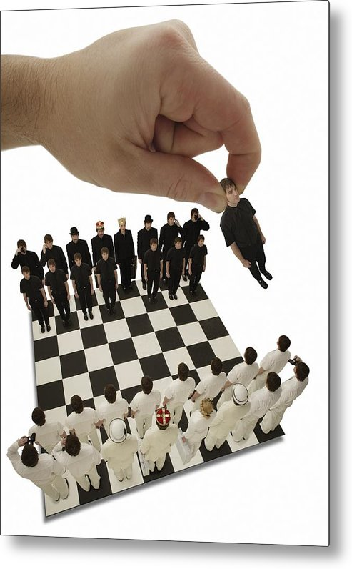 Win Metal Print featuring the photograph Chess Being Played With Little People by Darren Greenwood