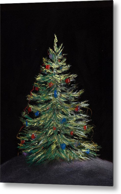 Single Metal Print featuring the painting Christmas Eve by Anastasiya Malakhova