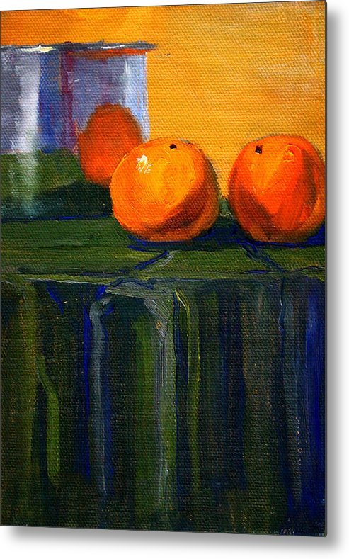 Kitchen Metal Print featuring the painting Citrus Chrome by Nancy Merkle