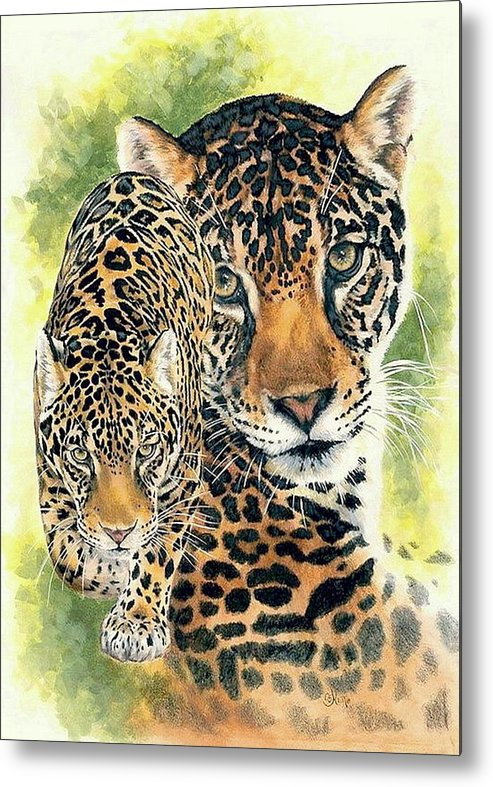 Jaguar Metal Print featuring the mixed media Compelling by Barbara Keith