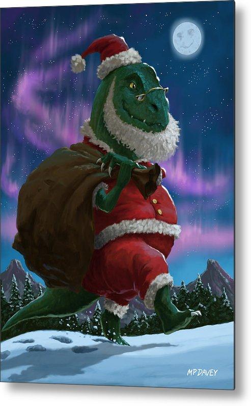 Christmas Dinosaur.Dinosaur Christmas Santa Out In The Snow Metal Print