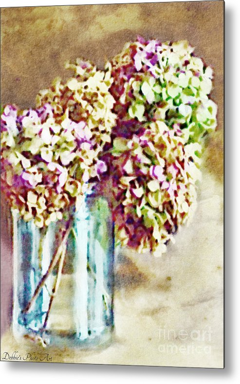 Hydrangea Metal Print featuring the photograph Dried Autumn Hydrangeas - Digital Paint by Debbie Portwood