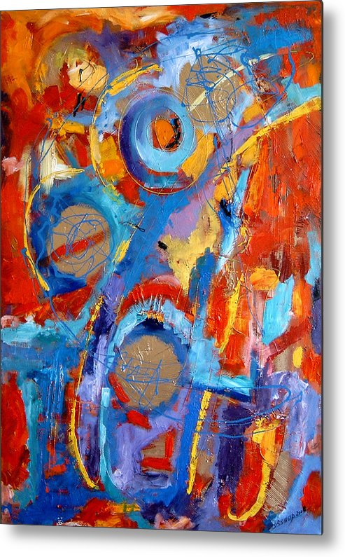 Abstract Metal Print featuring the painting Drumul Stelelor by Elena Bissinger