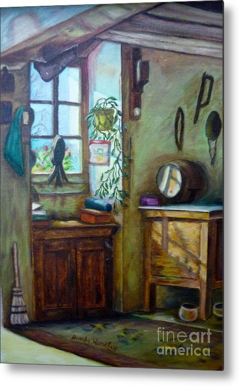 Wine Cask Metal Print featuring the painting French Work Room by Beverly Hanni