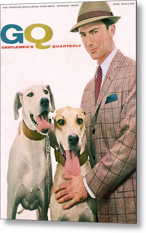 Fashion Metal Print featuring the photograph Gq Cover Featuring A Male Model With Dogs by Emme Gene Hall
