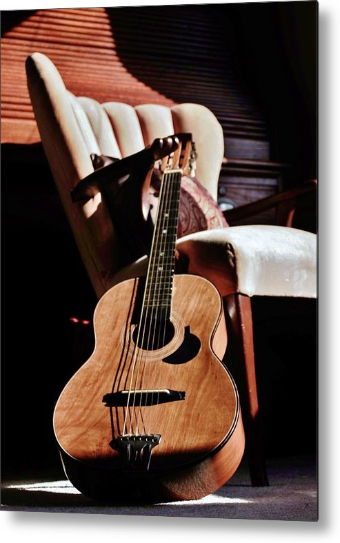 Guitar Metal Print featuring the photograph Guitar In Sunlight by Victoria Fischer