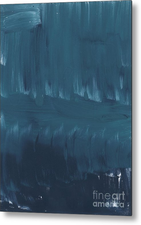 Large Abstract Blue Painting Metal Print featuring the painting In Stillness by Linda Woods