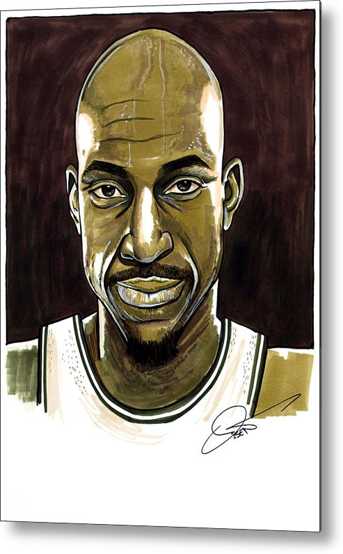 Kevin Garnett Metal Print featuring the drawing Kevin Garnett Portrait by Dave Olsen
