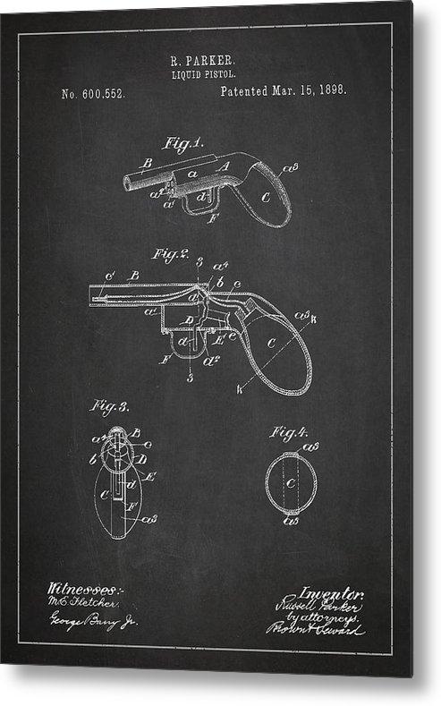 Pistol Patent Metal Print featuring the digital art Liquid Pistol Patent by Aged Pixel