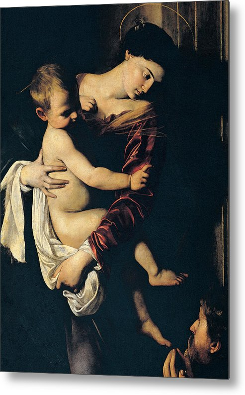 Madonna And Child Metal Print featuring the painting Madonna Di Loreto by Caravaggio