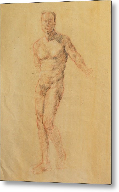 Drawing Metal Print featuring the drawing Male Nude 2 by Becky Kim