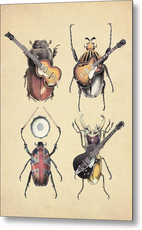 Beatles Metal Print featuring the digital art Meet The Beetles by Eric Fan