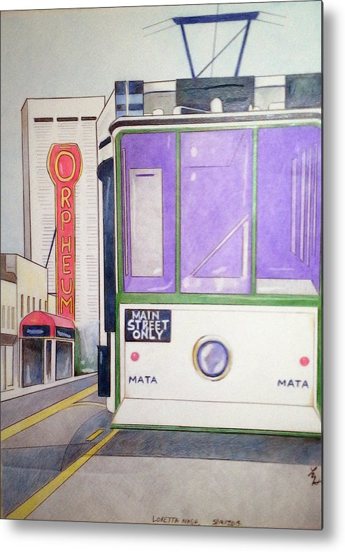 Landscape Metal Print featuring the drawing Memphis Trolley by Loretta Nash