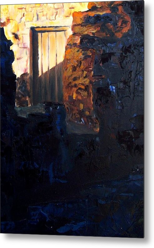 Mission Metal Print featuring the painting Mission Door At Sunset by Scott Alcorn