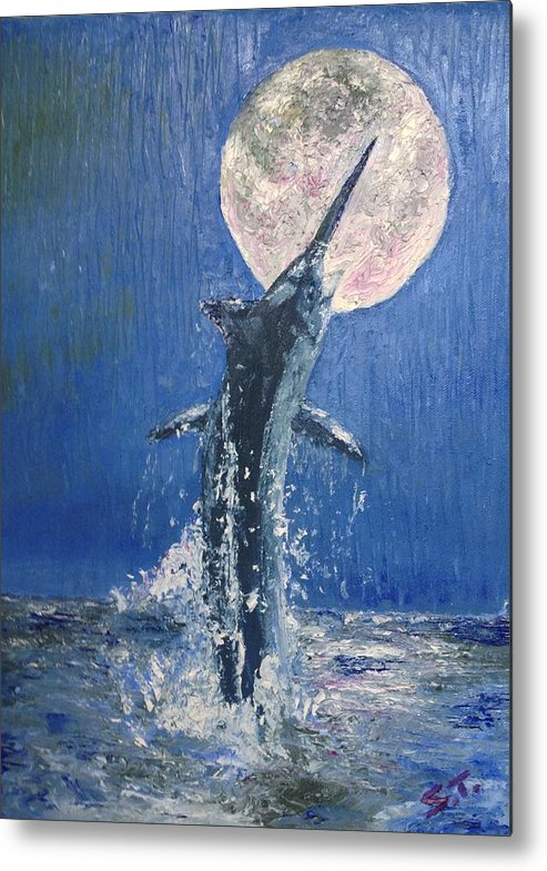 Marlin Metal Print featuring the painting Moonlight by Stan Tenney