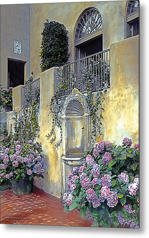 Tranquil Metal Print featuring the painting Morning On The Palazzo by Terry Reynoldson