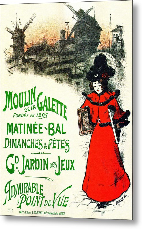 Art Metal Print featuring the mixed media Moulin De La Galette by Charlie Ross