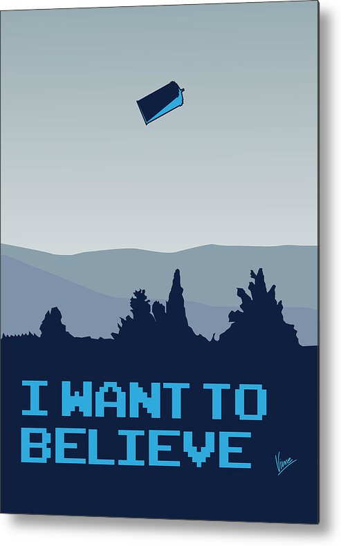 Classic Metal Print featuring the digital art My I Want To Believe Minimal Poster- Tardis by Chungkong Art
