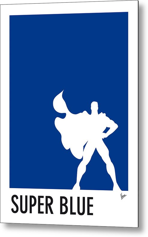 Superheroes Metal Print featuring the digital art My Superhero 03 Super Blue Minimal Poster by Chungkong Art