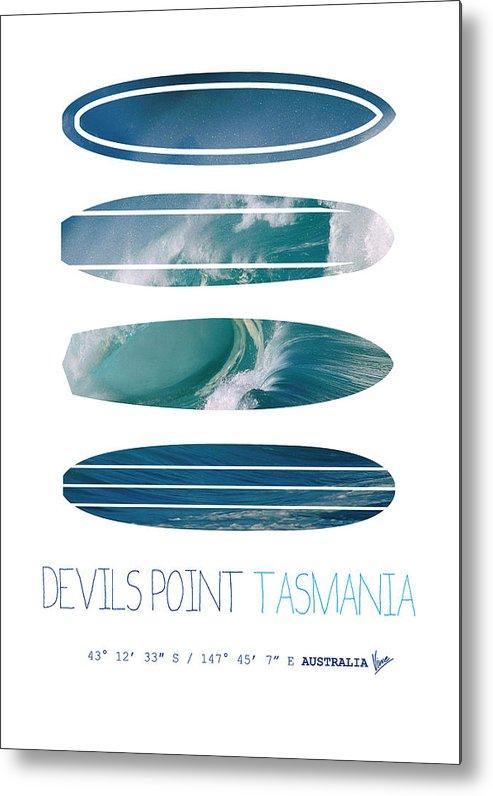 Minimal Metal Print featuring the digital art My Surfspots Poster-5-devils-point-tasmania by Chungkong Art