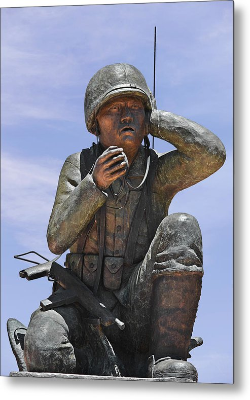 Navajo Metal Print featuring the photograph Navajo Code Talkers - Navajo People by Christine Till