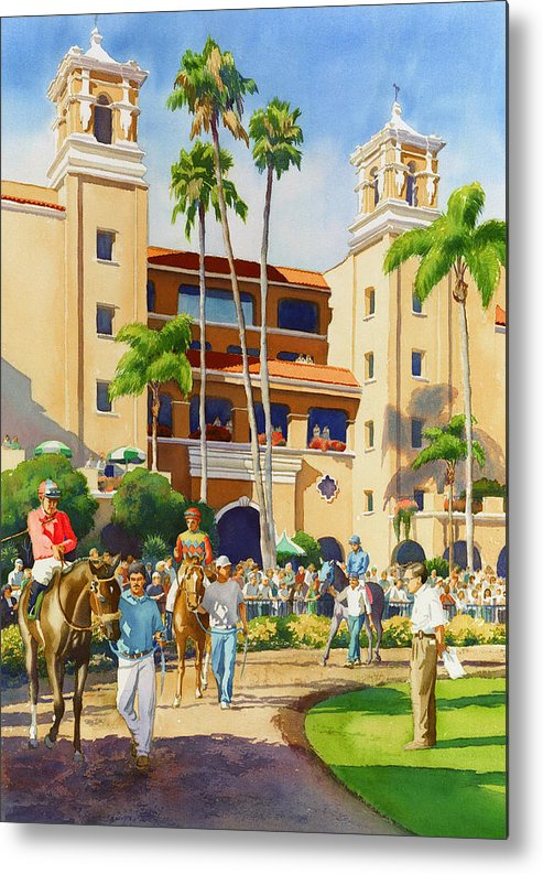 Paddock Metal Print featuring the painting New Paddock At Del Mar by Mary Helmreich