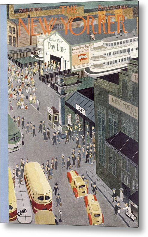 Urban Metal Print featuring the painting New Yorker August 5th, 1950 by Charles E Martin