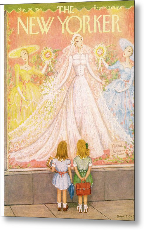 Marriage Husband Wife Married Couple Nuptial Wedding Ceremony Tie Tying The Knot Dress Gown Bride Groom Ring Engagement Wed Wedded Lawfully Kid Kids Child Children Little Girl Girls Edna Eicke Eed Sumnerok Artkey 49341 Metal Print featuring the painting New Yorker May 29th, 1954 by Edna Eicke