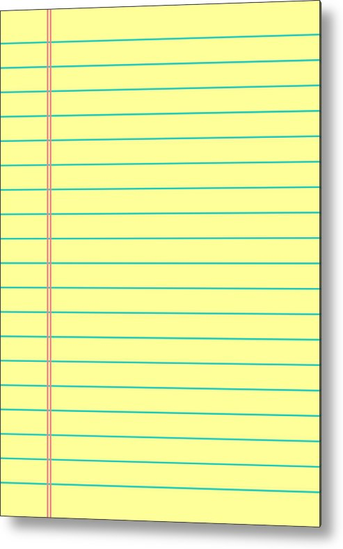 Notebook Paper Background Yellow Lined Paper Metal Print By