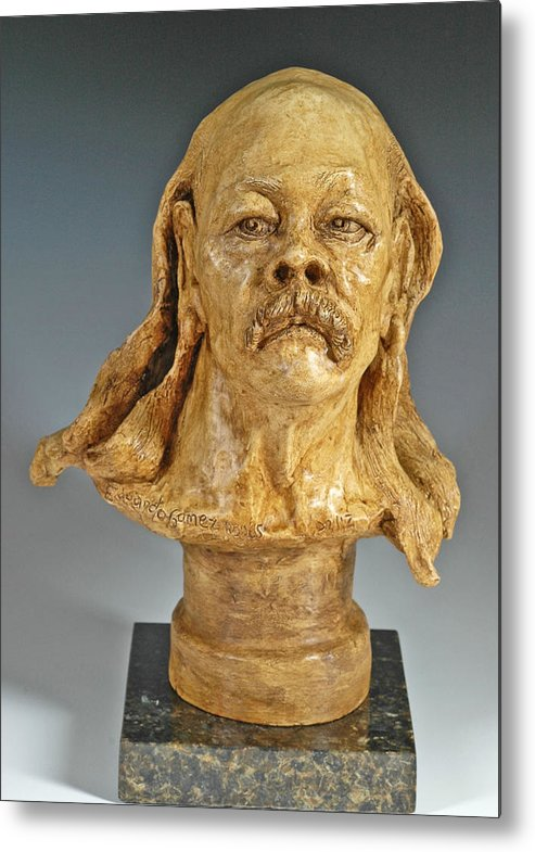 Figurative Sculpture Metal Print featuring the sculpture Old Hippie by Eduardo Gomez