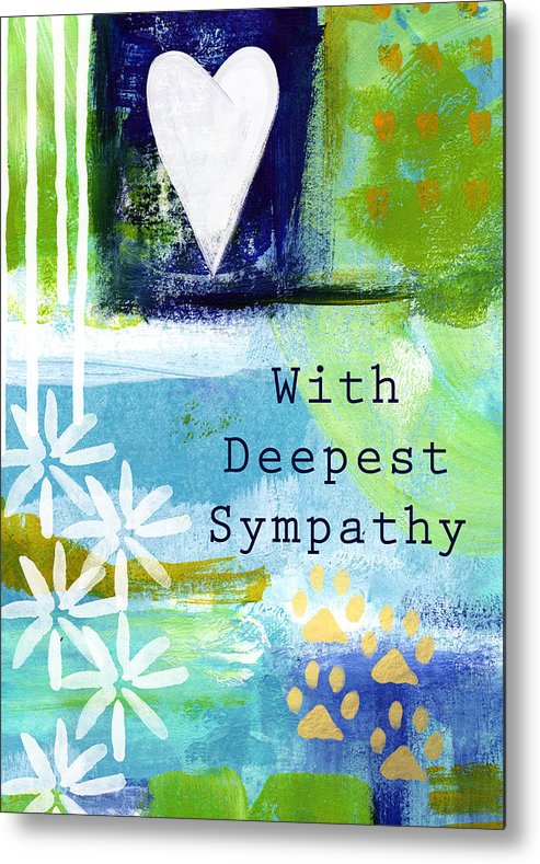 Pet Sympathy Card Metal Print featuring the painting Paw Prints And Heart Sympathy Card by Linda Woods