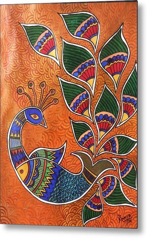 Madhubani Inspired Metal Print featuring the painting Peacock-fish by Remya Damodaran