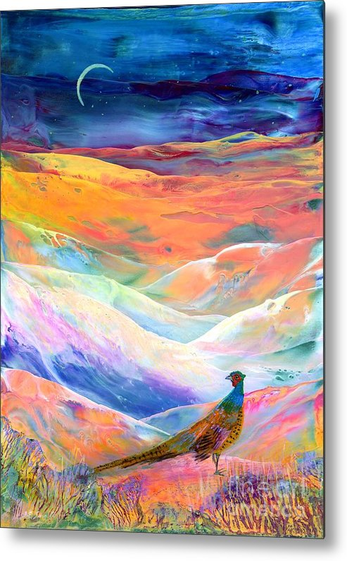 Meadow Metal Print featuring the painting Pheasant Moon by Jane Small