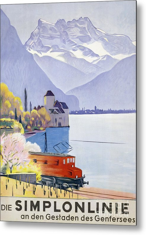 Railway Metal Print featuring the painting Poster Advertising Rail Travel Around Lake Geneva by Emil Cardinaux