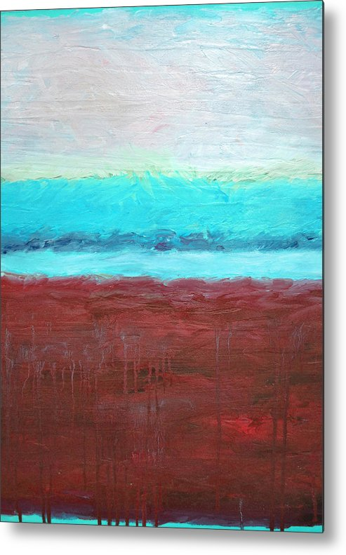 Abstract Metal Print featuring the painting Red And Aqua Get Married by Michelle Calkins