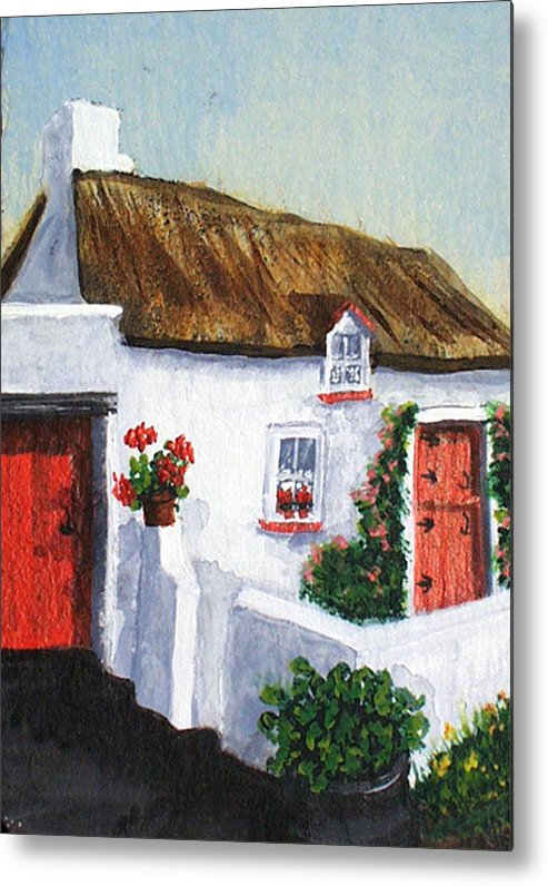 Irish Metal Print featuring the painting Red Door Cottage Like Maggies by Barbara McDevitt