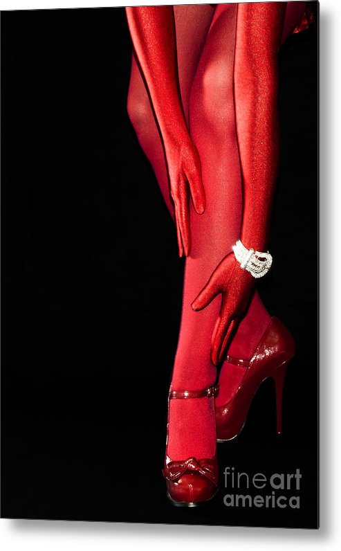 Stockings Metal Print featuring the photograph Red Stockings02 by Svetlana Sewell