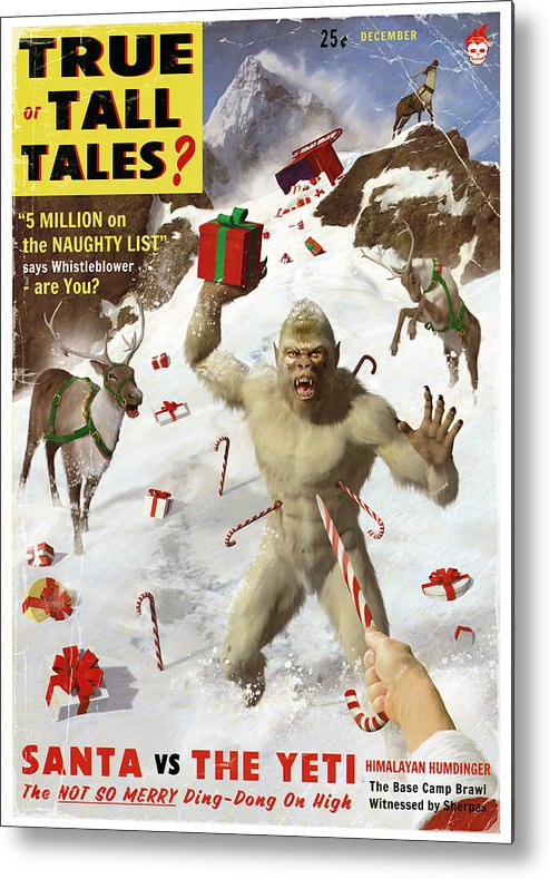 Pulp Metal Print featuring the painting Santa Vs The Yeti by Alex Tomlinson