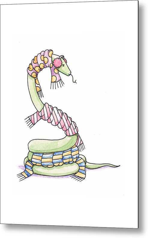 Snake Metal Print featuring the painting Snake Wearing A Scarf by Christy Beckwith