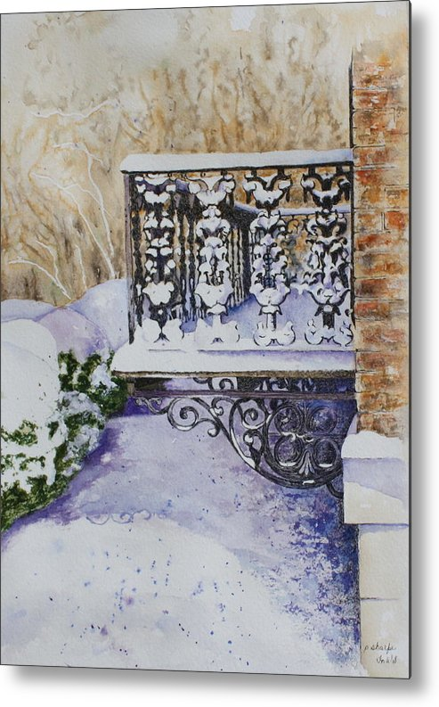 Snow Scene Metal Print featuring the painting Snowy Ironwork by Patsy Sharpe