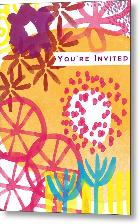 Party Invitation Metal Print featuring the painting Spring Floral Invitation- Greeting Card by Linda Woods