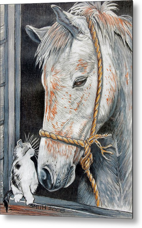 Horse And Cat Metal Print featuring the drawing Stablemates by Valerie Yvette Smith