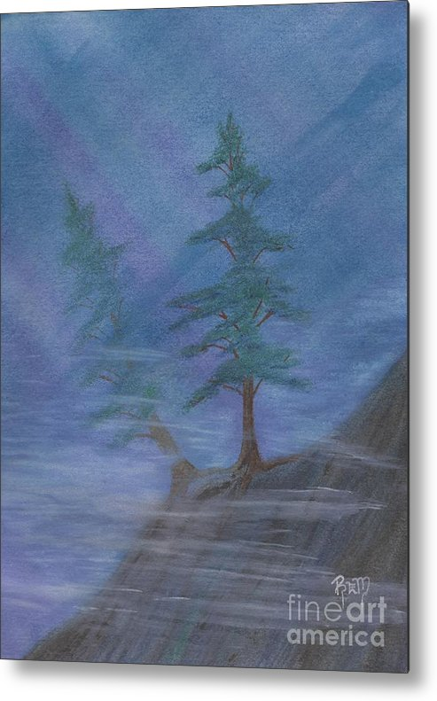 Mist Metal Print featuring the painting Standing Alone by Robert Meszaros