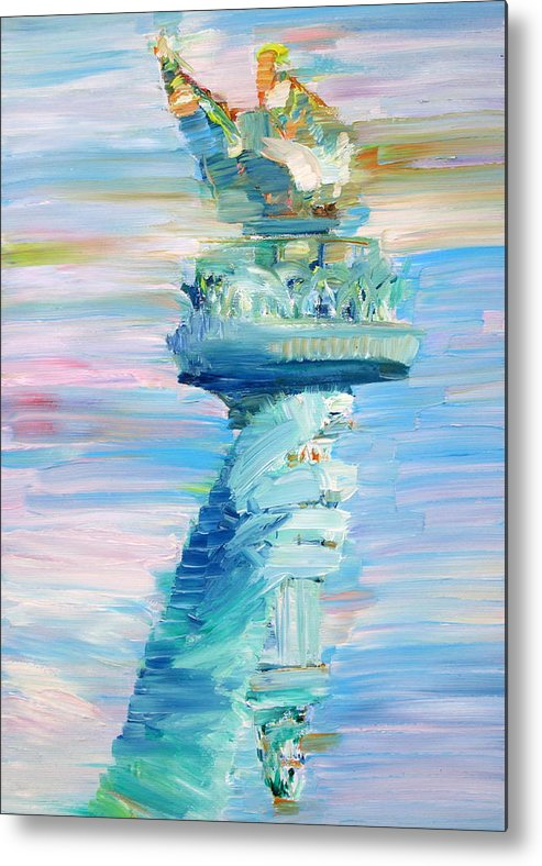 Statue Metal Print featuring the painting Statue Of Liberty - The Torch by Fabrizio Cassetta