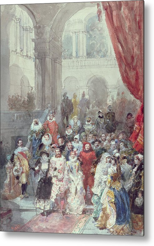 Study For A Costume Ball Given By The Princess Of Sagan Metal Print featuring the painting Study For A Costume Ball Given By The Princess Of Sagan by Eugene-Louis Lami