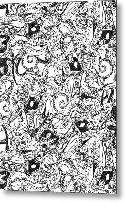 octopus metal print featuring the drawing tentacles black white by sharon turner